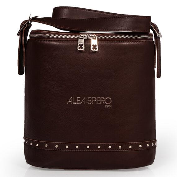 bolso aleaspero covadonga steel piel marron