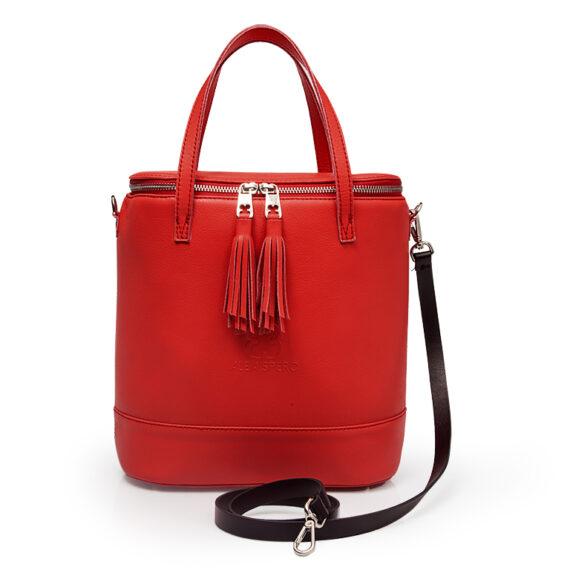 bolso aleaspero covadonga natural piel rojo