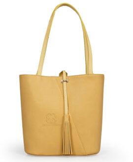 bolso aleaspero pangong natural piel amarillo
