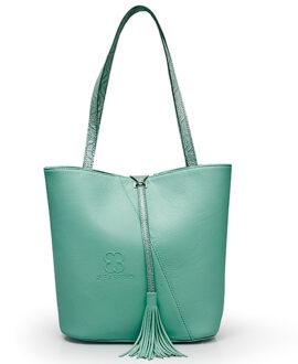 bolso aleaspero pangong natural piel verde