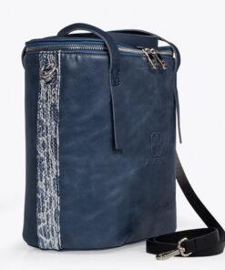 bolso aleaspero covadonga reptill piel azul detalle