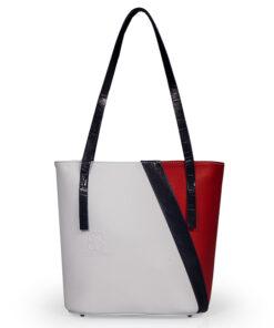 bolso aleaspero pangong color piel blanco rojo