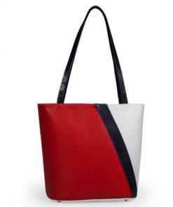 bolso aleaspero pangong color piel blanco rojo tras