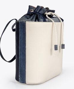 bolso aleaspero tahoe color piel beige azul lateral