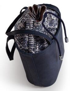 bolso aleaspero tahoe reptil piel azul detalle