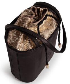 bolso aleaspero tahoe reptil piel negro detalle