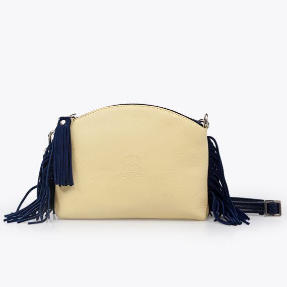 bolso alena fleco piel amarillo