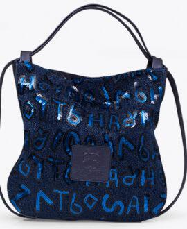bolso mochila aleaspero nyasa lentejuelas azul piel natural