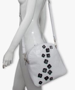 bolso mochila aleaspero eyre flores piel blanco hombro