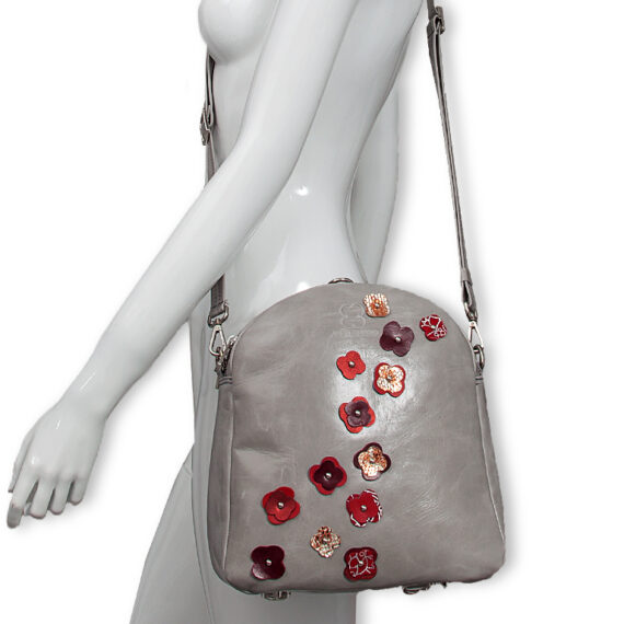 bolso mochila aleaspero eyre flores piel gris hombro