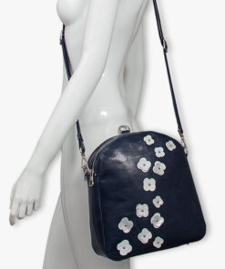 bolso mochila aleaspero eyre flores piel marino hombro