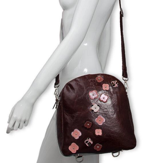 bolso mochila aleaspero eyre flores piel marron hombro