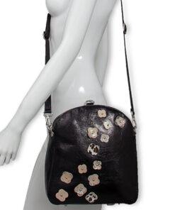 bolso mochila aleaspero eyre flores piel negro hombro