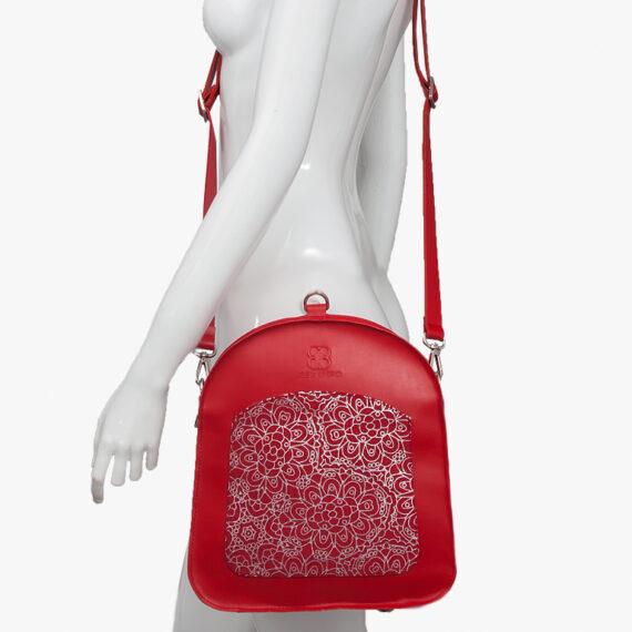 bolso mochila aleaspero ayre prunus piel rojo hombro