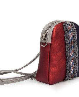 bolso mochila dasha banda piel burdeos lateral
