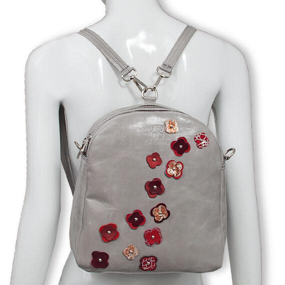 bolso mochila aleaspero eyre flores piel gris espalda