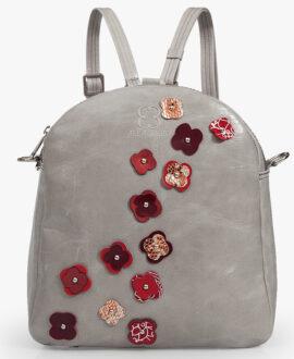 bolso mochila aleaspero eyre flores piel gris