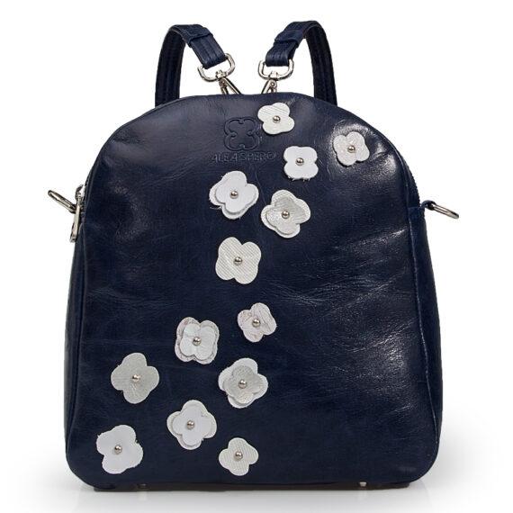 bolso mochila aleaspero eyre flores piel marino