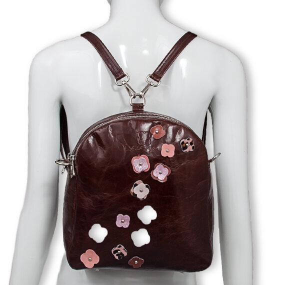 bolso mochila aleaspero eyre flores piel marron espalda