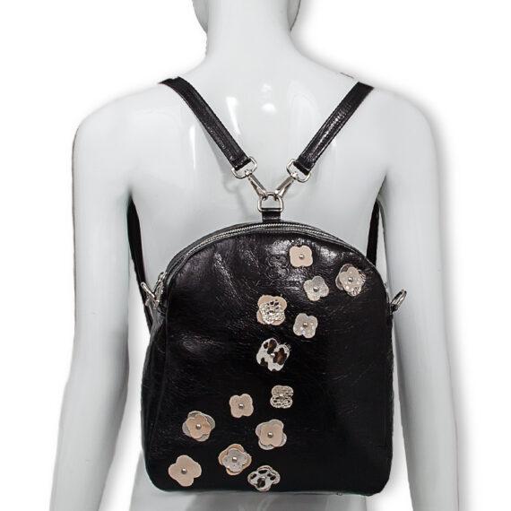 bolso mochila aleaspero eyre flores piel negro espalda