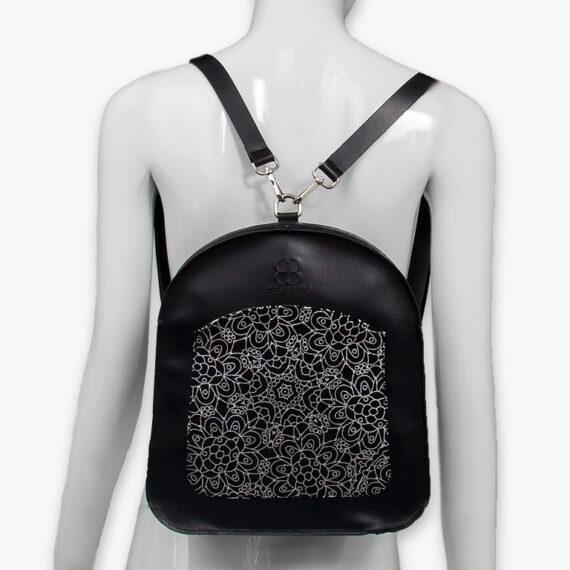 bolso mochila aleaspero ayre prunus piel negro espalda
