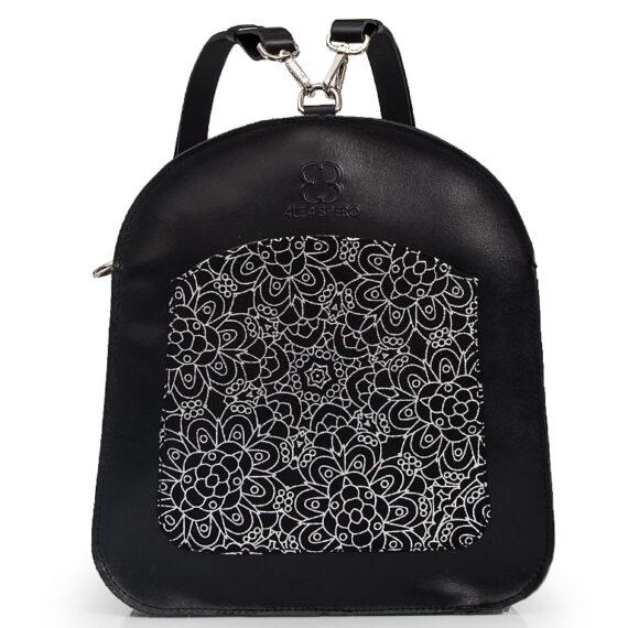 bolso mochila aleaspero ayre prunus piel negro detalle