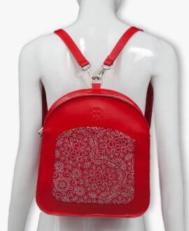 bolso mochila aleaspero ayre prunus piel rojo espalda