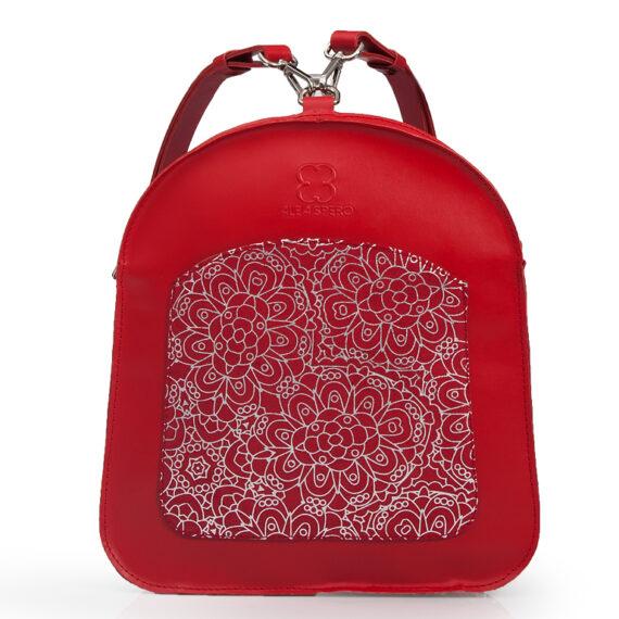 bolso mochila aleaspero ayre prunus piel rojo detalle