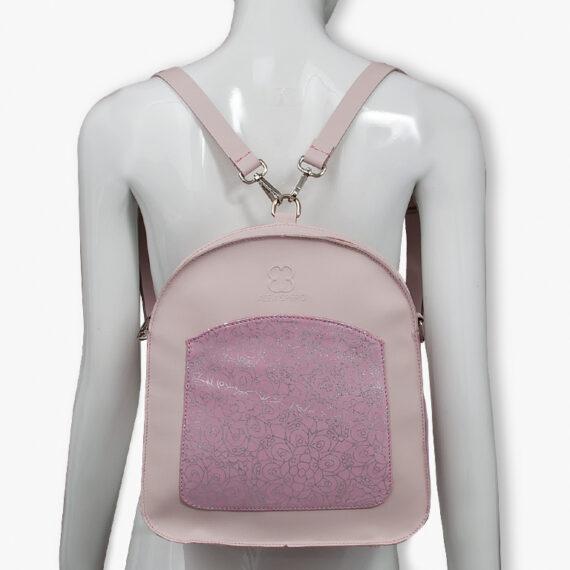bolso mochila aleaspero ayre prunus piel rosa espalda