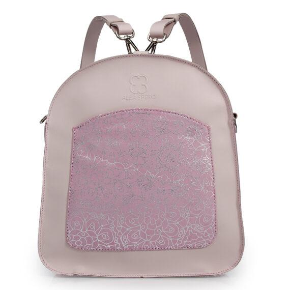 bolso mochila aleaspero ayre prunus piel rosa detalle