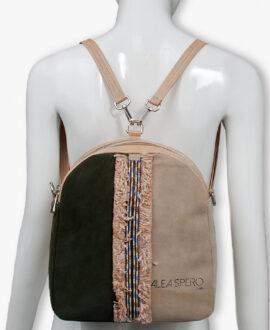 bolso mochila aleaspero eyre banda piel verde espalda