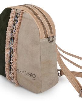 bolso mochila aleaspero eyre banda piel verde