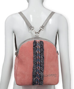 bolso mochila aleaspero eyre banda piel rosa espalda