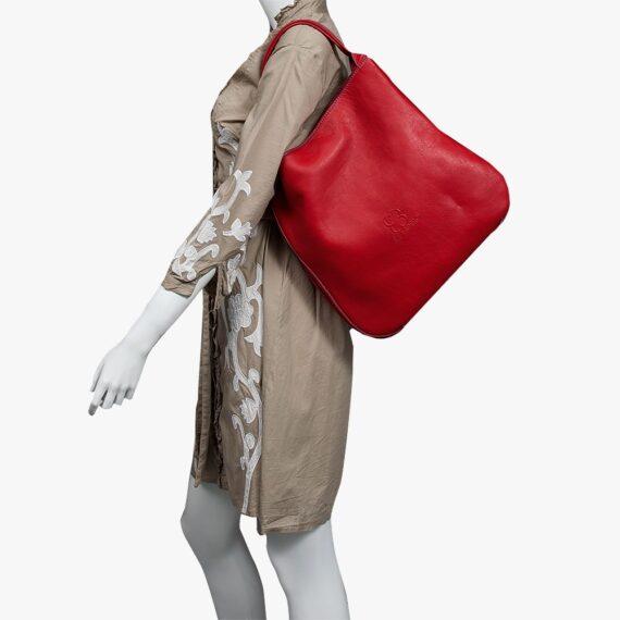 bolso mochila aleaspero nyasa rojo piel natural 1000