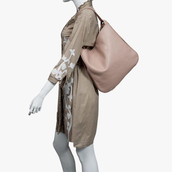 bolso mochila aleaspero nyasa beig piel natural hombro