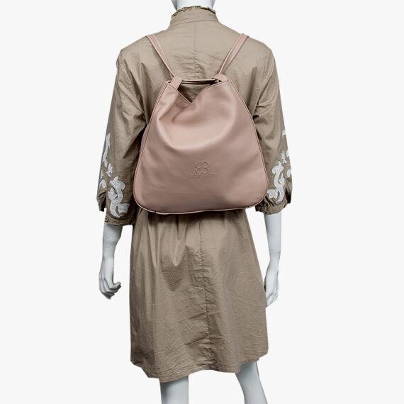bolso mochila aleaspero nyasa beig piel natural espalda