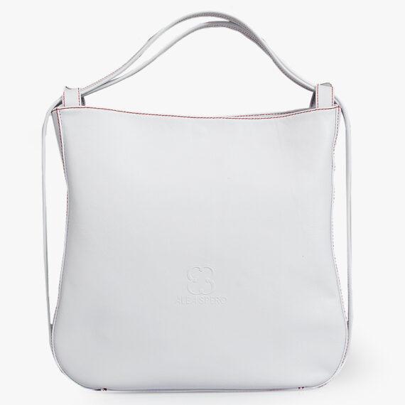 bolso mochila aleaspero nyasa blanco piel natural