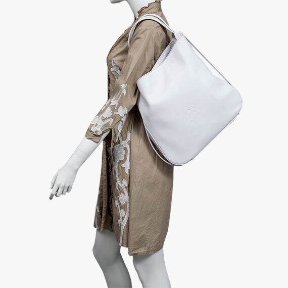 bolso mochila aleaspero nyasa blanco piel natural hombro