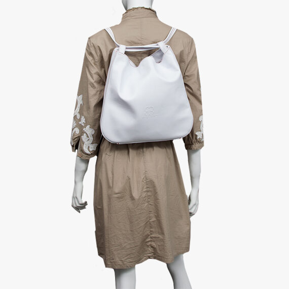 bolso mochila aleaspero nyasa blanco piel natural espalda