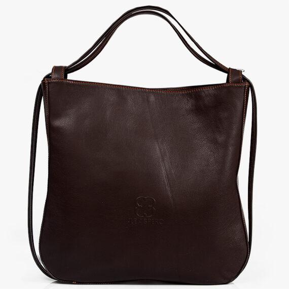 bolso mochila aleaspero nyasa marron piel natural