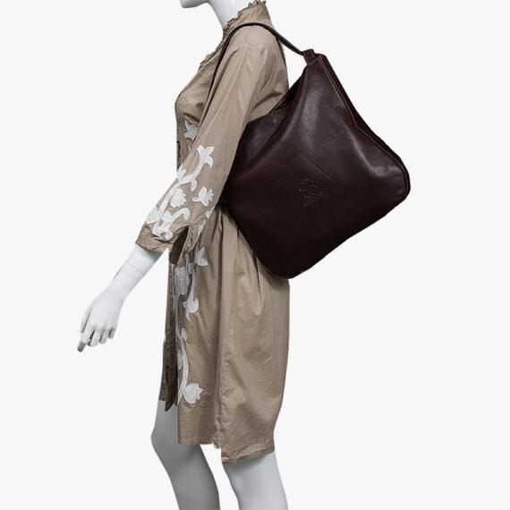 bolso mochila aleaspero nyasa marron piel natural hombro