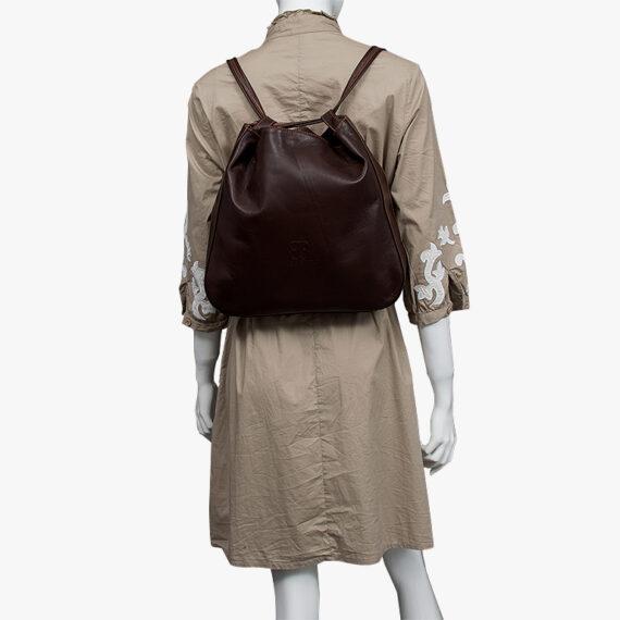 bolso mochila aleaspero nyasa marron piel natural espalda