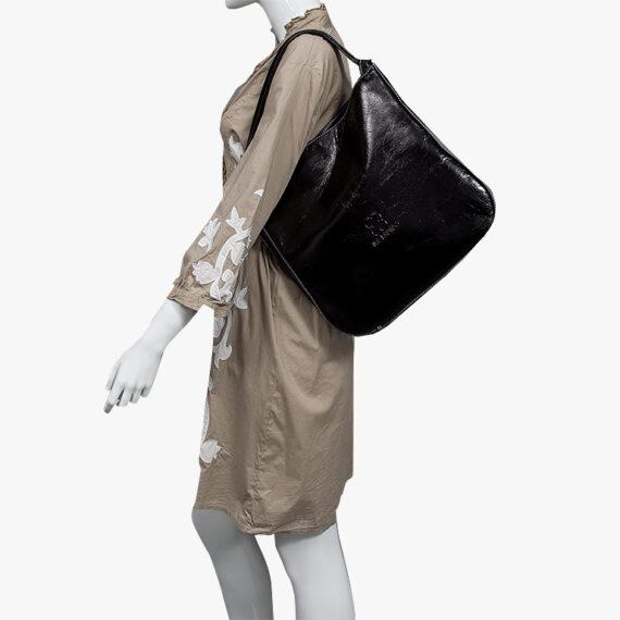 bolso mochila aleaspero nyasa negro piel natural hombro
