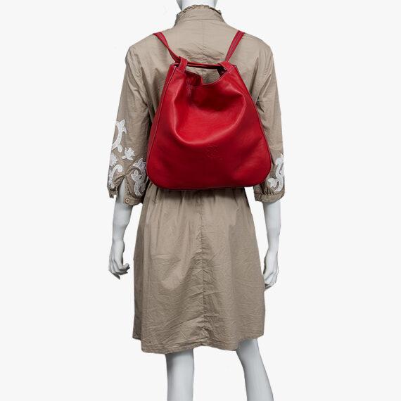 bolso mochila aleaspero nyasa rojo piel natural espalda