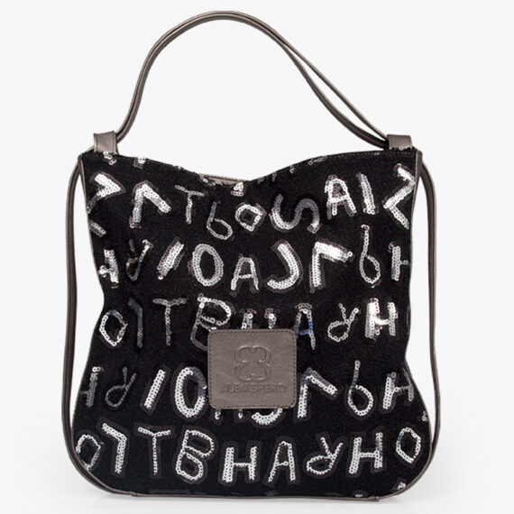bolso mochila aleaspero nyasa lentejuelas negro piel natural