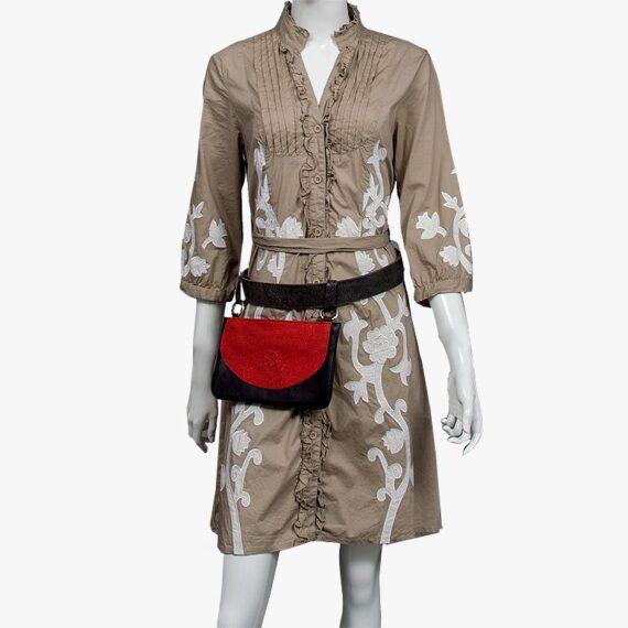 bolso riñonera aleaspero asia glitter rojo cintura