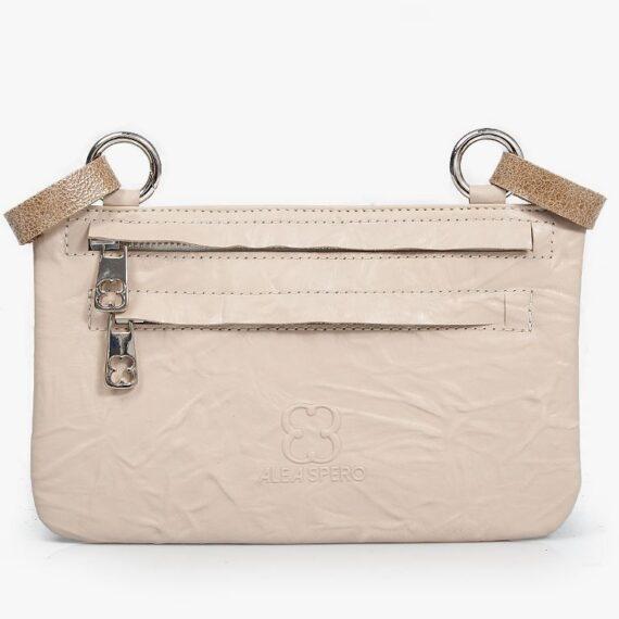 bolso riñonera aleaspero asia plisado beig