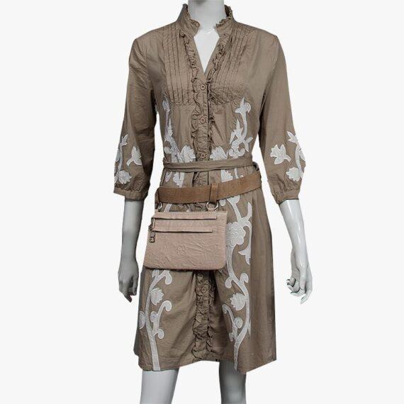 bolso riñonera aleaspero asia plisado beig cinturon