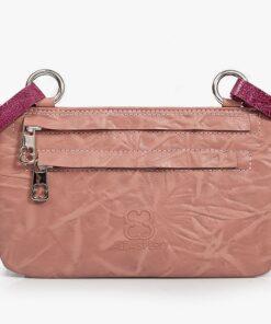 bolso riñonera aleaspero asia plisado rosa
