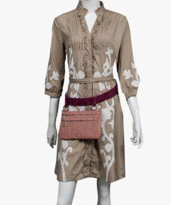 bolso riñonera aleaspero asia plisado rosa cinturon